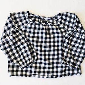 Baby Gap B&W Check Pouf Sleeve Blouse